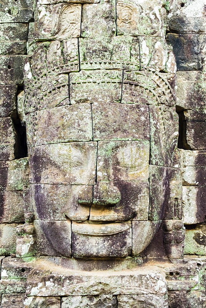 Carved stone faces at Prasat Bayon temple ruins, Angkor Thom, UNESCO World Heritage Site, Siem Reap Province, Cambodia, Indochina, Southeast Asia, Asia