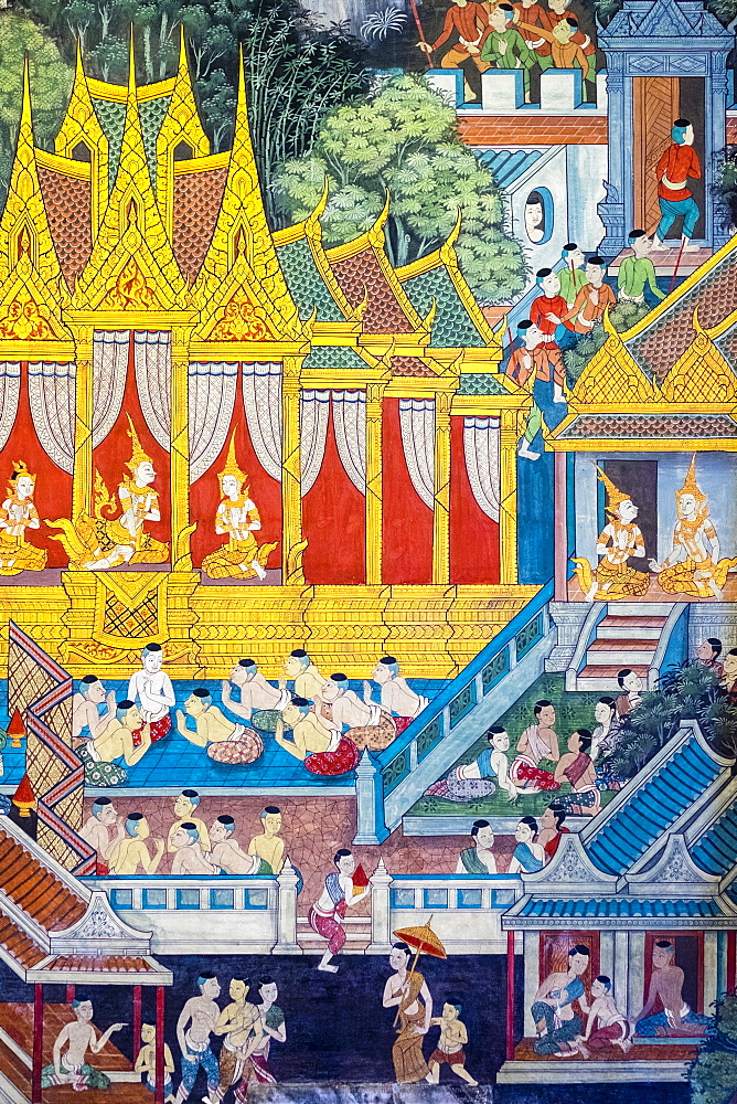 Colorful painted murals depicting scenes from life of Buddha, inside Wat Pho (Temple of the Reclining Buddha), Bangkok, Thailand, Southeast Asia, Asia