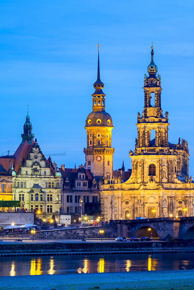 Dresden skyline, historic buildings along the Elbe River at night, Altstadt (Old Town), Dresden, Saxony, Germany, Europe - 1217-340