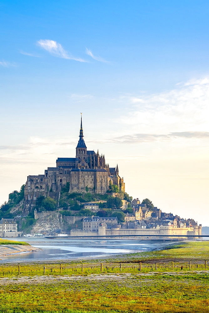Le Mont-Saint-Michel at sunrise, UNESCO World Heritage Site, Manche Department, Normandy, France, Europe