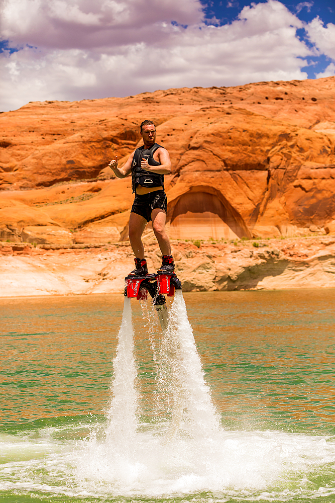 Flyboarding with Bravada Yachts on Lake Powell, border of Arizona and Utah, United States of America, North America