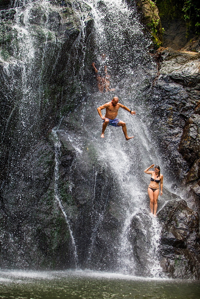 Waterfall jumping, Fiji, South Pacific, Pacific