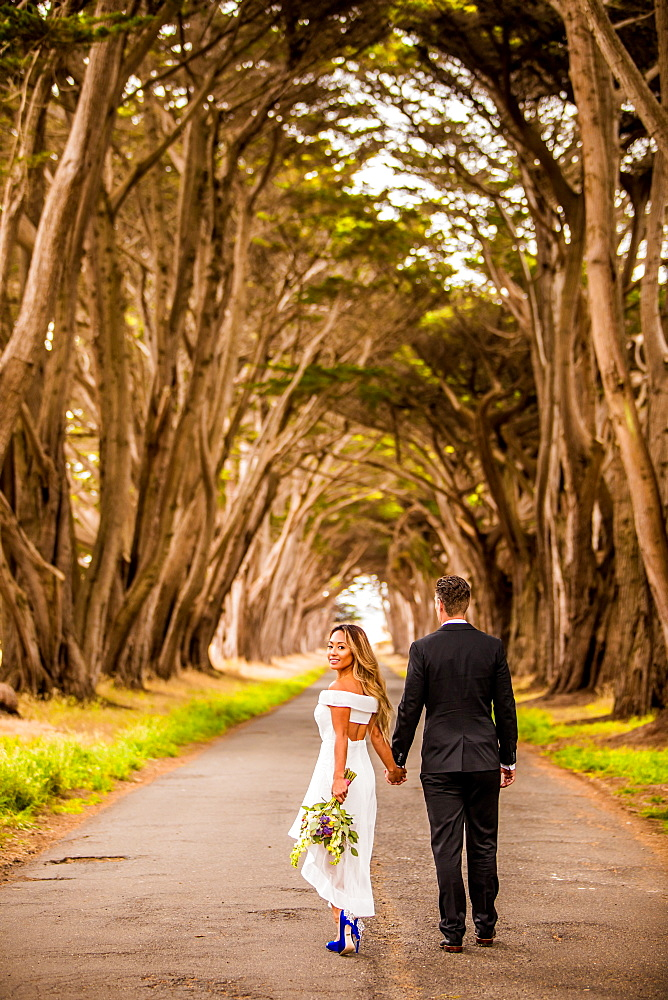 Couple in engagement dress, Marin, California, United States of America, North America