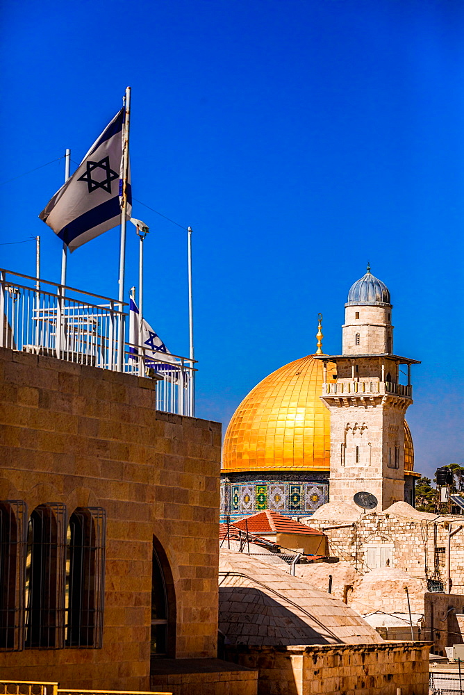 Israeli flag and Dome of the Rock, UNESCO World Heritage Site, Jerusalem, Israel, Middle East