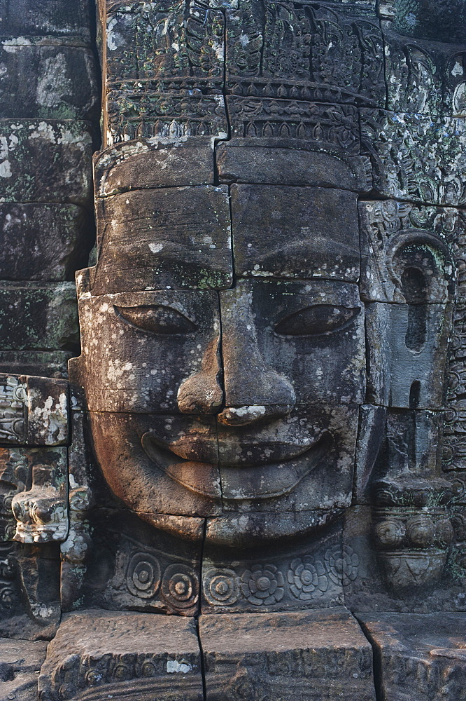 One of the faces on the Bayon temple at Angkor Wat in Cambodia