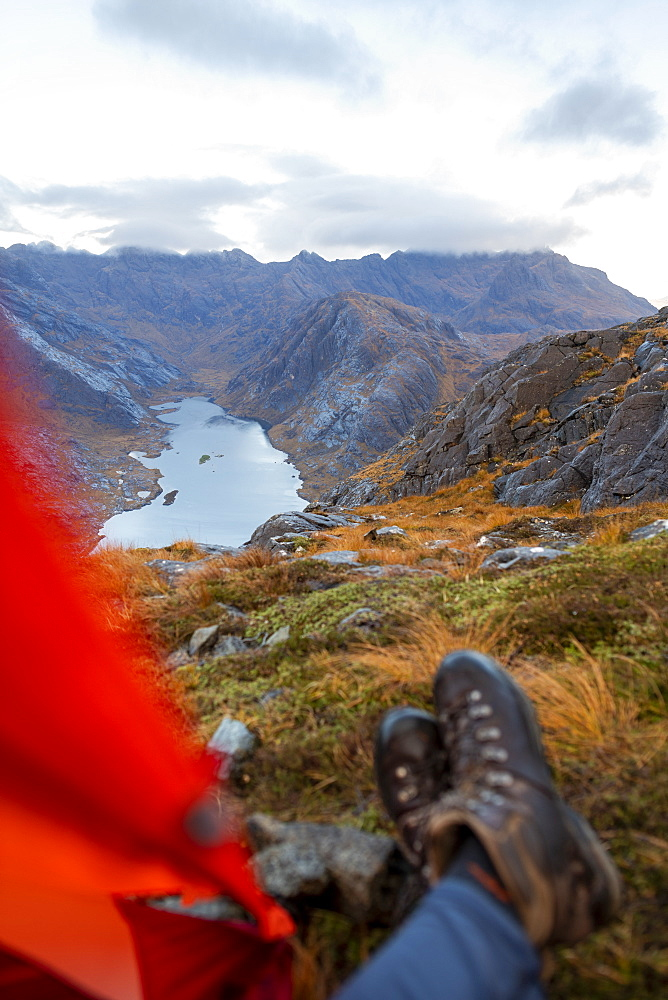 Wild camping on the top of Sgurr Na Stri looking towards Loch Coruisk and the main Cuillin ridge, Isle of Skye, Inner Hebrides, Scotland, United Kingdom, Europe - 1225-1284