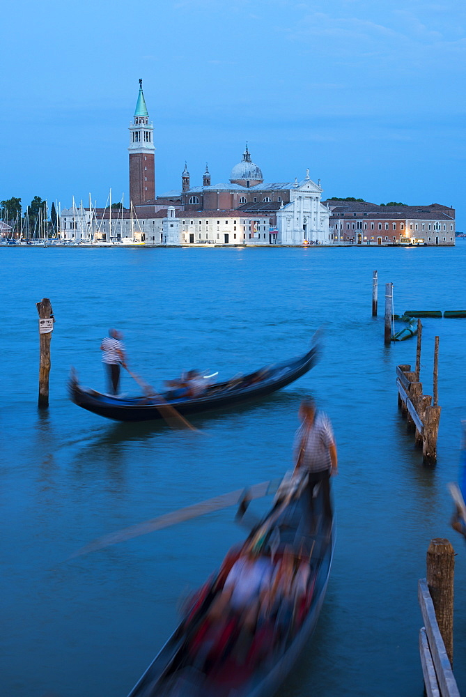 Gondolas near San Marco at twilight with San Giorgio in the distance, Venice, UNESCO World Heritage Site, Veneto, Italy, Europe