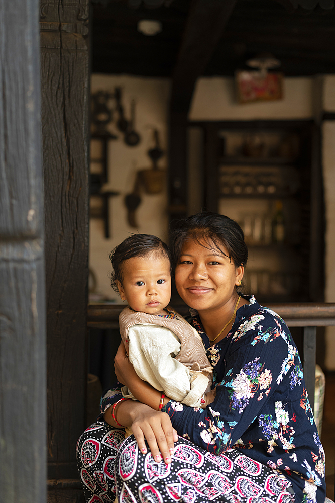 A Nepali woman with her baby, Nuwacot, Nepal, Asia - 1225-1324