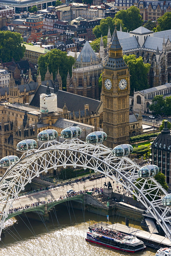 An aerial view of The London Eye and The Houses of Parliament