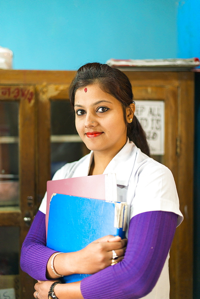 A nurse at Diktel hospital, Khotang District, Nepal, Asia