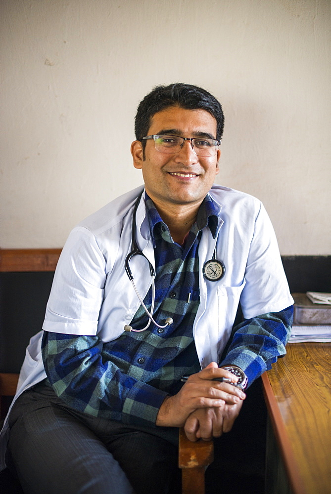 A doctor in his office in a hospital, Diktel, Khotang District, Nepal, Asia