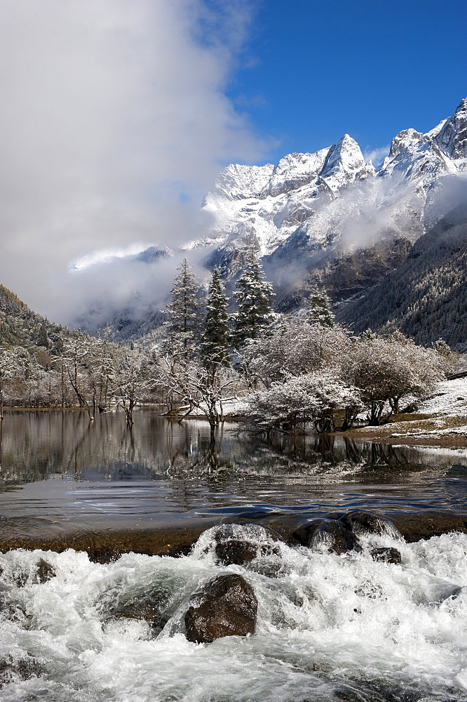 Early in morning frost in Mount Siguniang, an area of outstanding natural beauty in Sichuan Province, China, Asia
