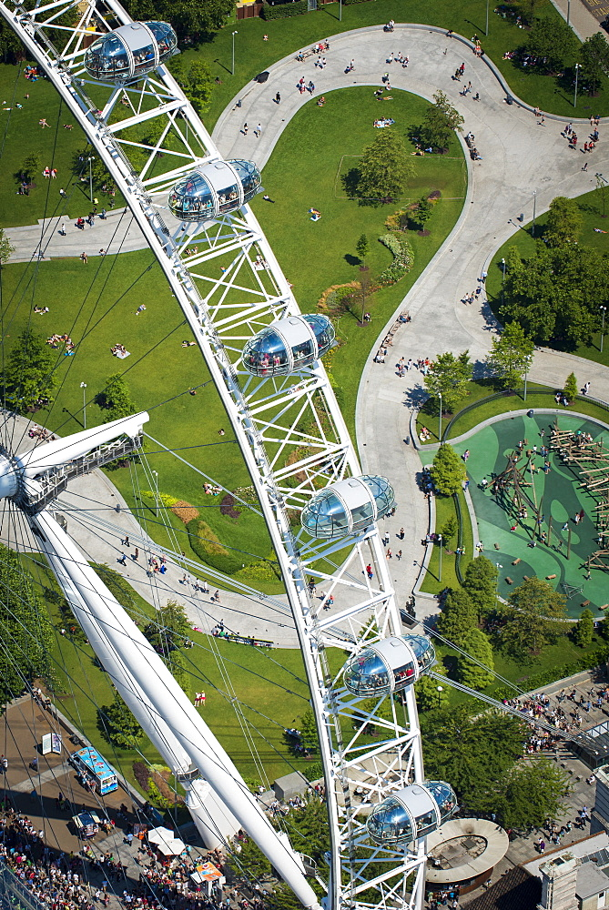 Aerial view of the London Eye, London, England, United Kingdom, Europe