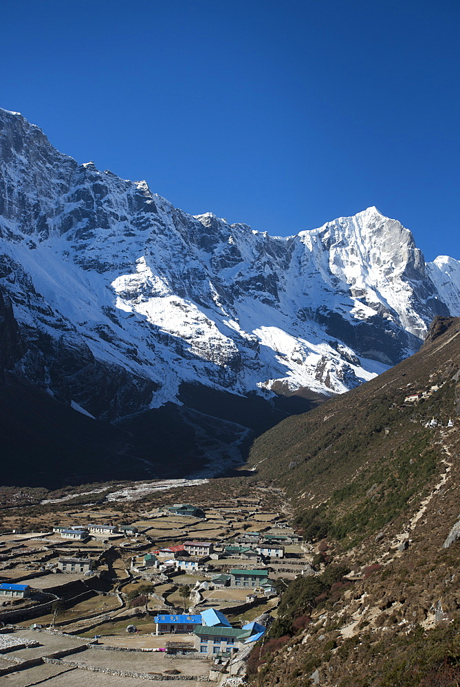 The little mountain village and monastery of Thame in the Khumbu region of Nepal