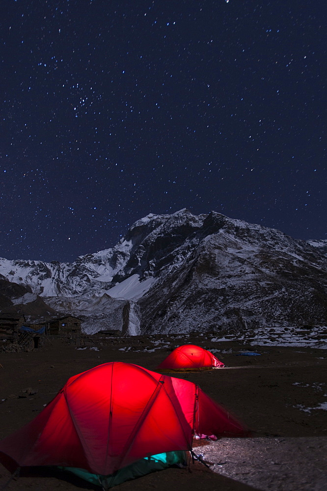 Camped at Samdo during the Manaslu circuit trek, Nepal, Himalayas, Asia