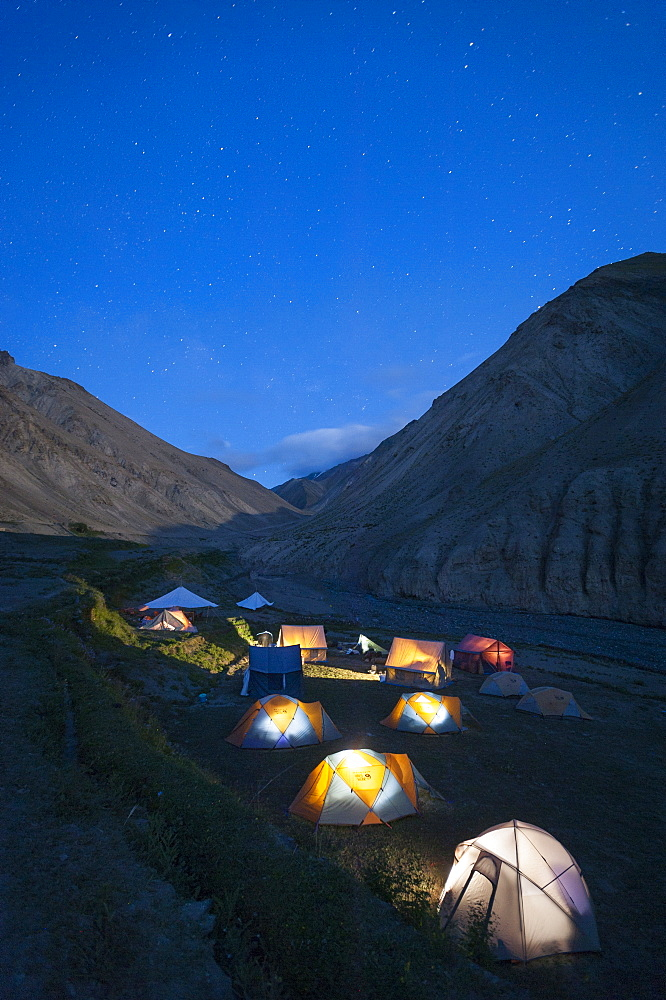 A group camping at Wanlah while trekking the Hidden Valleys route, Ladakh, Himalayas, India, Asia