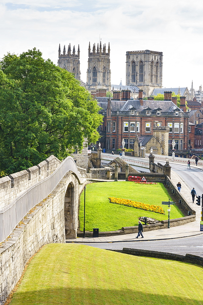 Medieval city walls and York Minster, York, North Yorkshire, England, United Kingdom