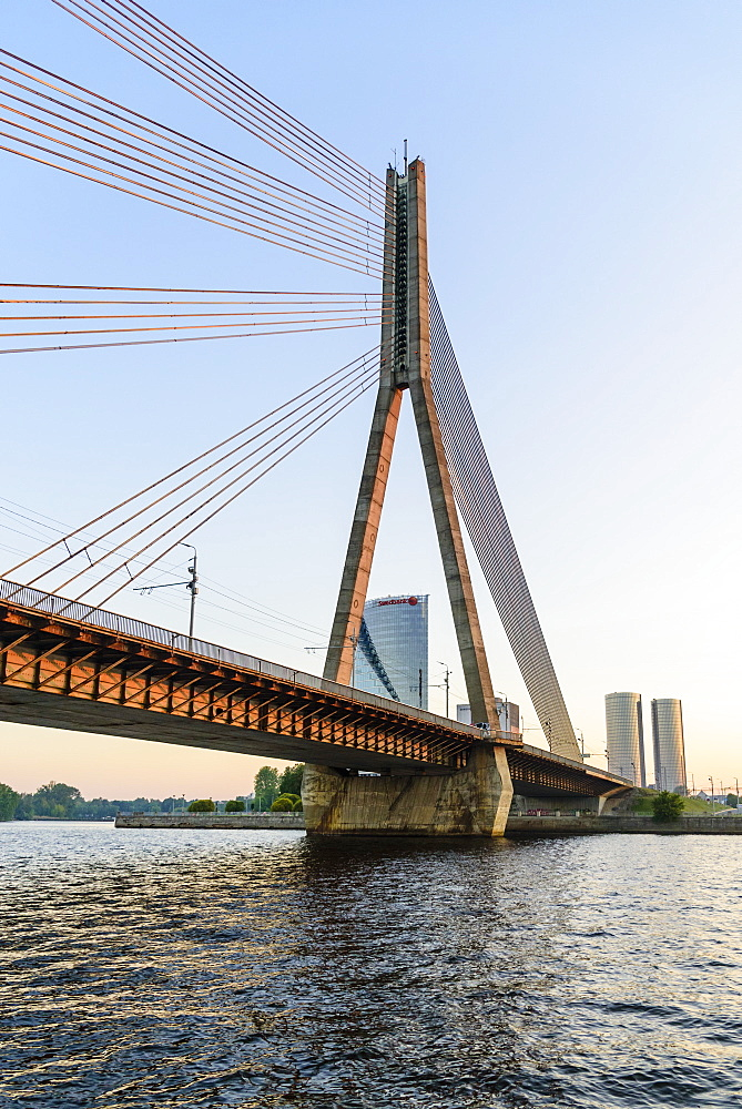 Vansu Bridge over the Daugava River , Riga, Latvia, Europe