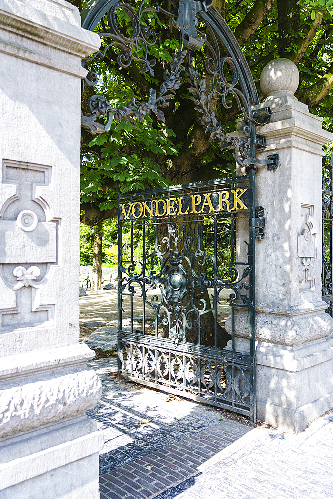 Ornate gate entrance to Vondel Park, Amsterdam, North Holland, The Netherlands, Europe