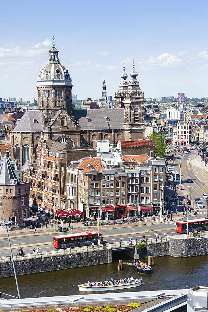 High angle view of central Amsterdam with St. Nicholas Church and tower, Amsterdam, North Holland, The Netherlands, Europe