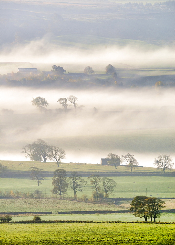 Mist rising over East Halton and Embsay in Lower Wharfedale, North Yorkshire, Yorkshire, England, United Kingdom, Europe - 1228-158