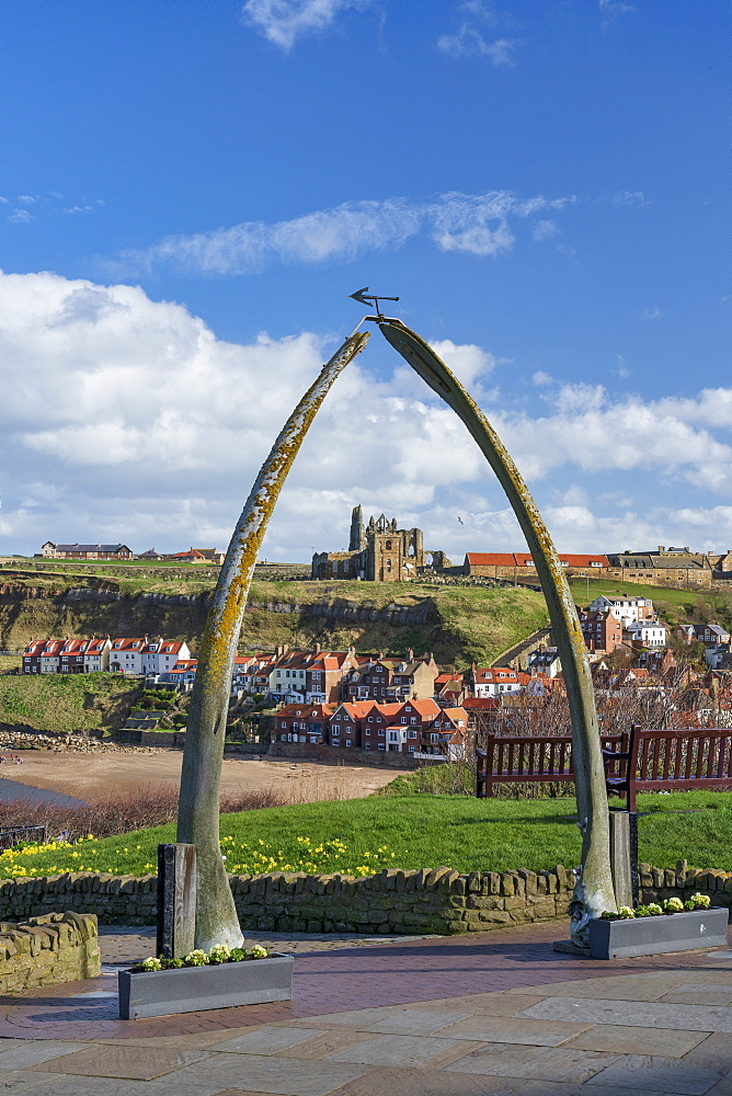 Whitby Abbey, St Mary's Church viewed through the Whale bones on the west cliff, and the River Eske.