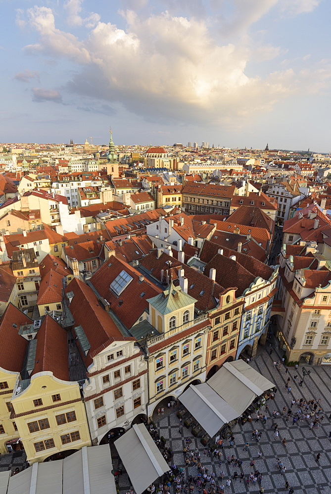 View of Prague's historic Old Town Square from Old Town Hall with rooftops and pedestrians below, UNESCO World Heritage Site, Prague, Czech Republic, Europe - 1241-136