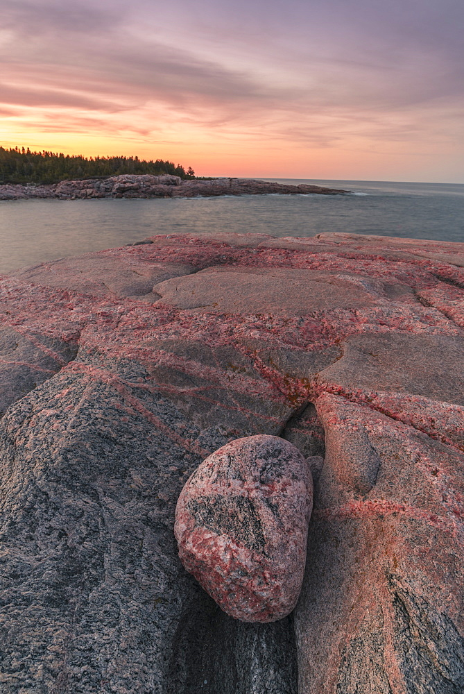Rocky coastline at sunset, Lackies Head and Green Cove, Cape Breton National Park, Nova Scotia, Canada, North America