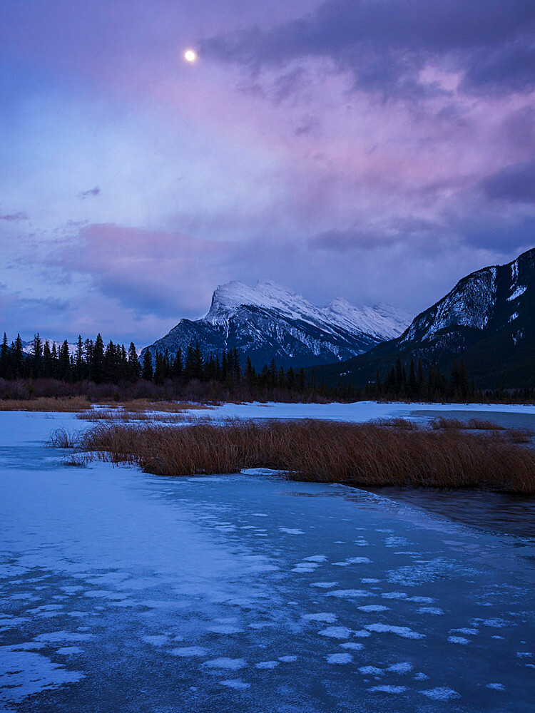 Sunset with lake ice and Mount Rundle, Vermillion Lakes, Banff National Park, Alberta, Canada, Canadian Rockies - 1241-259
