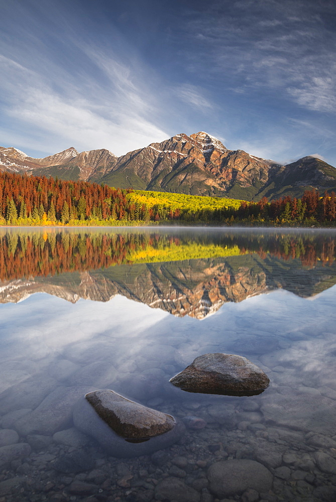Pyramid Mountain reflected in Patricia Lake in autumn, Jasper National Park, UNESCO World Heritage Site, Canadian Rockies, Alberta, Canada, North America