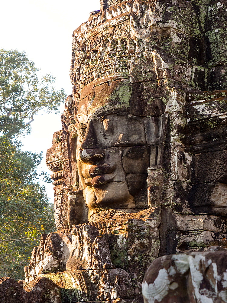 Huge stone face, Bayon Temple, Angkor Wat complex, UNESCO World Heritage Site, near Siem Reap, Cambodia, Indochina, Southeast Asia, Asia - 1242-186