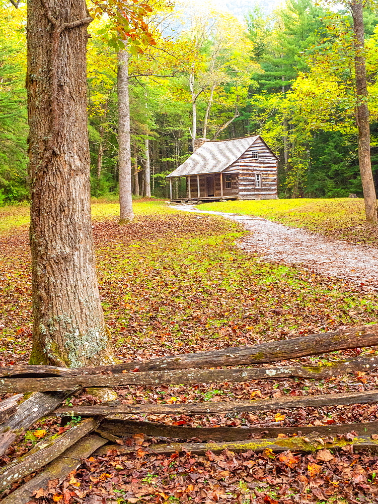 Log cabin, Cades Cove, Great Smoky Mountains National Park, Tennessee, United States of America, North America