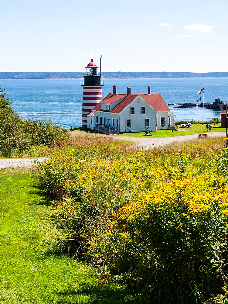 Red and white lighthouse, Lubec, Maine, USA