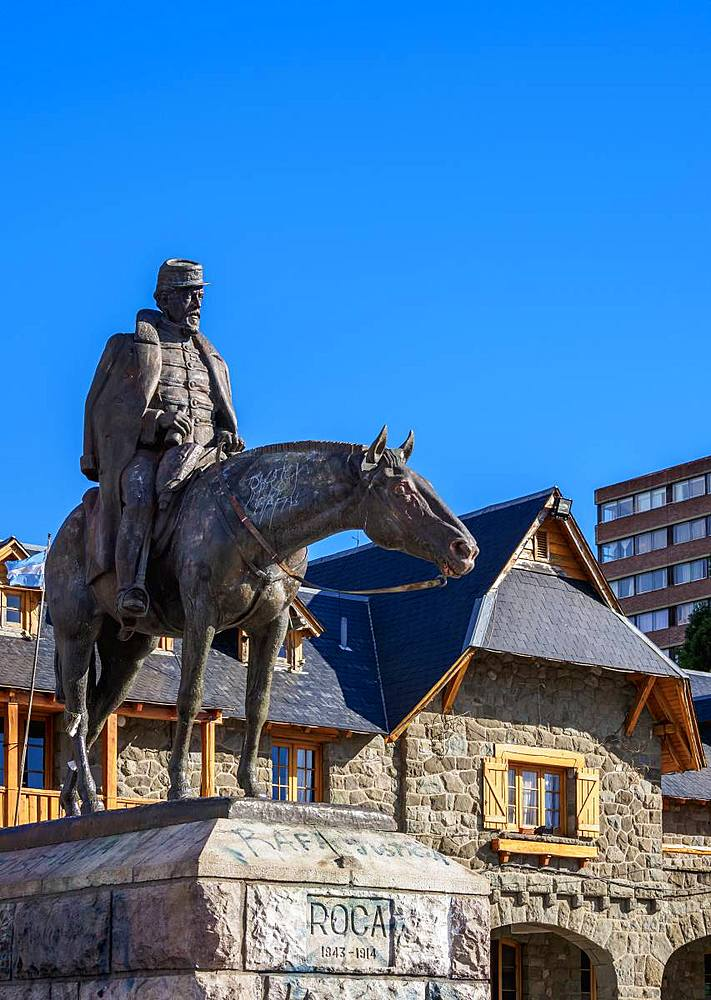 Statue of General Roca at the Civic Center, San Carlos de Bariloche, Nahuel Huapi National Park, Rio Negro Province, Argentina, South America