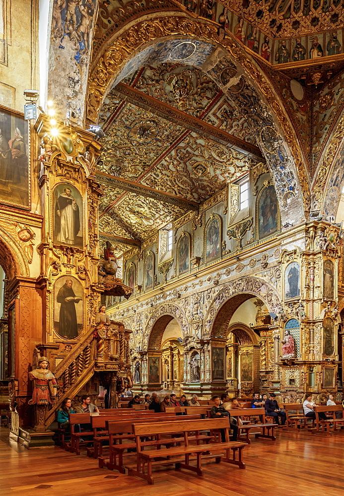 Saint Francis Church, interior, Quito, Pichincha Province, Ecuador, South America