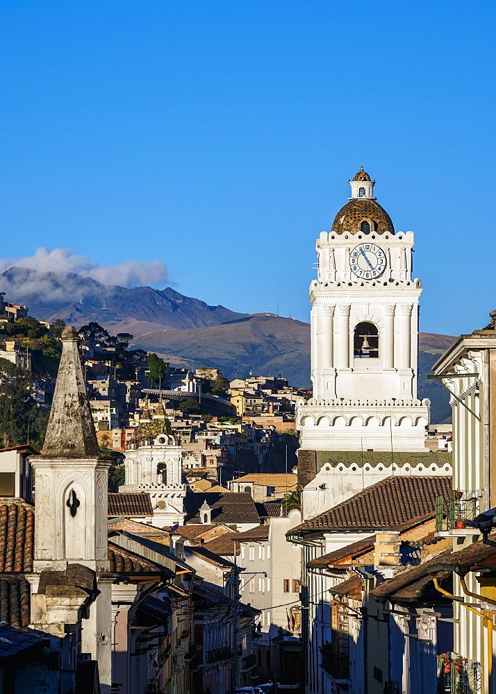 View towards La Merced Church, UNESCO World Heritage Site, Old Town, Quito, Pichincha Province, Ecuador, South America