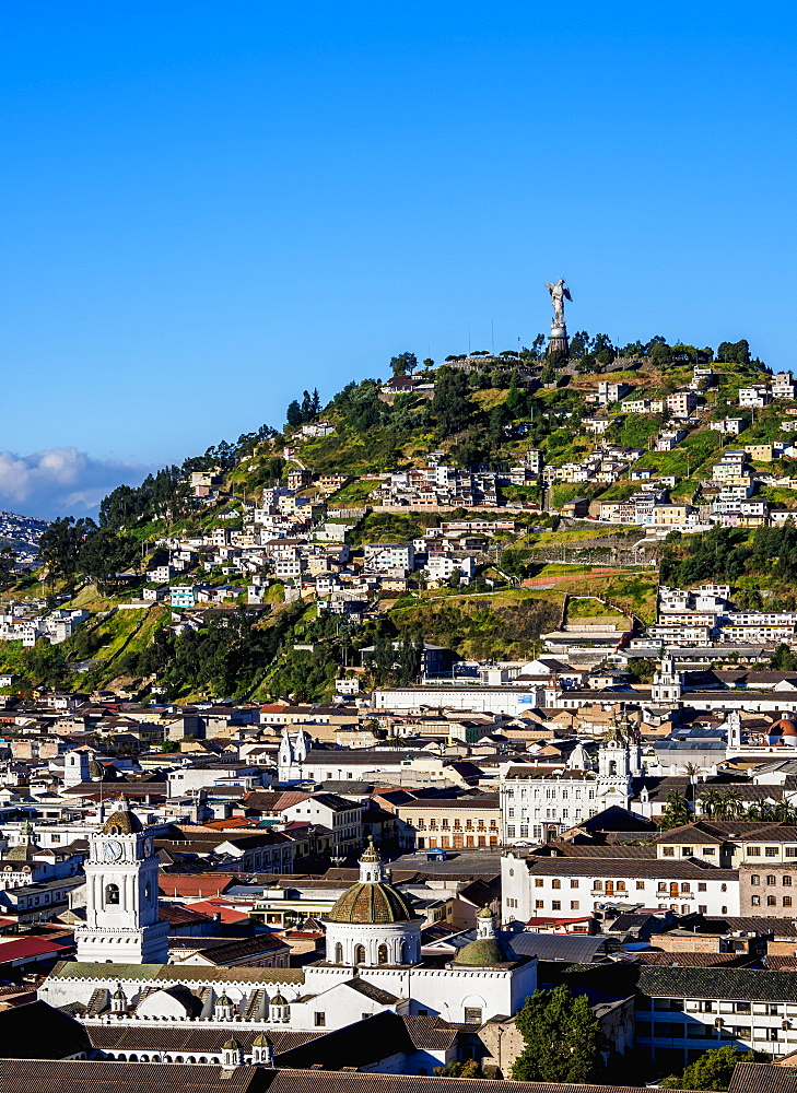 View over Old Town towards El Panecillo Hill, Quito, Pichincha Province, Ecuador, South America