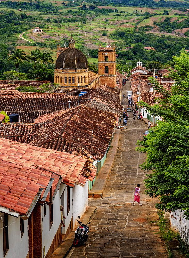 View towards La Inmaculada Concepcion Cathedral, Barichara, Santander Department, Colombia - 1245-1403