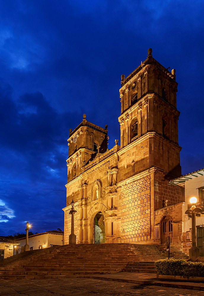 La Inmaculada Concepcion Cathedral at dusk, Barichara, Santander Department, Colombia, South America