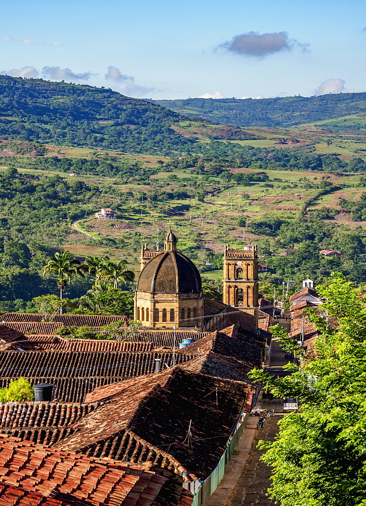View towards La Inmaculada Concepcion Cathedral, Barichara, Santander Department, Colombia, South America