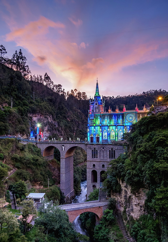 Las Lajas Sanctuary at dusk, Narino Departmant, Colombia, South America