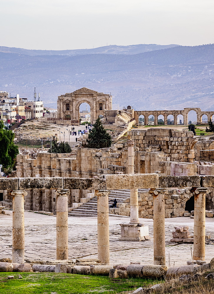 Oval Plaza, Jerash, Jerash Governorate, Jordan, Middle East