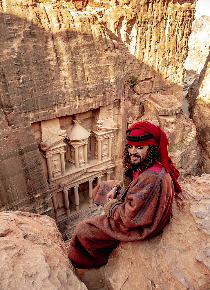 Bedouin Man at The Treasury view point, Petra, Ma'an Governorate, Jordan (MR) - 1245-1525