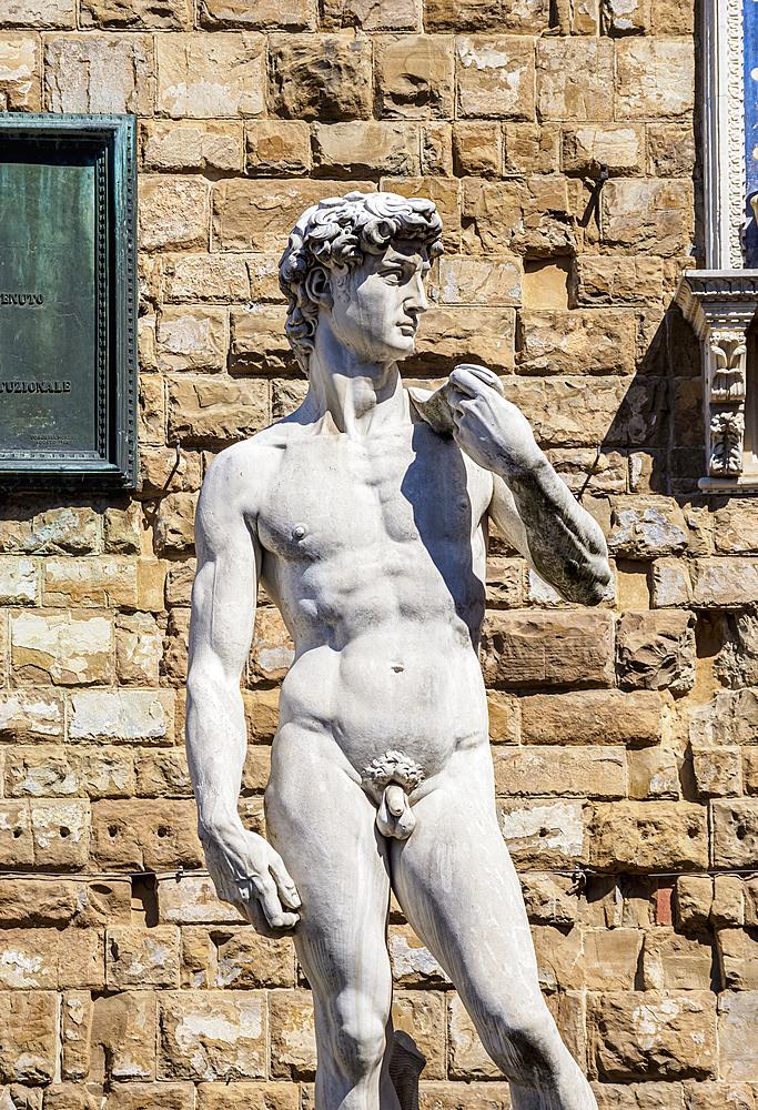 David Statue, Piazza della Signoria, Florence, UNESCO World Heritage Site, Tuscany, Italy, Europe