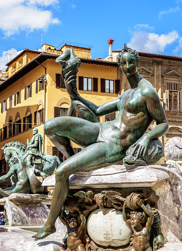 Fountain of Neptune, detailed view, Piazza della Signoria, Florence, UNESCO World Heritage Site, Tuscany, Italy, Europe