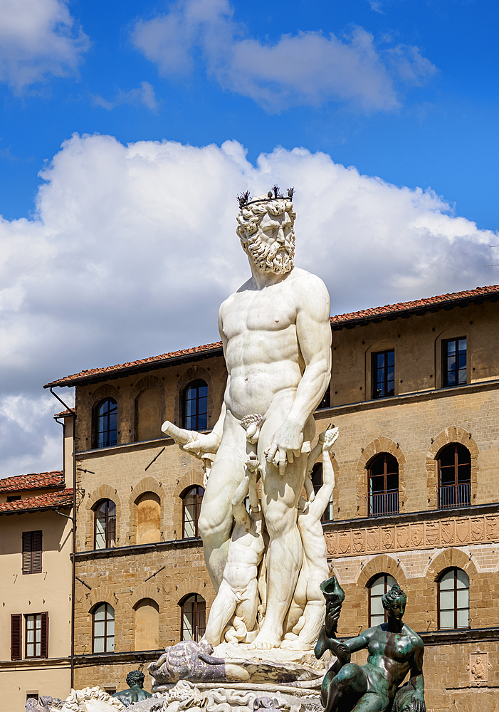 Fountain of Neptune, Piazza della Signoria, Florence, UNESCO World Heritage Site, Tuscany, Italy, Europe