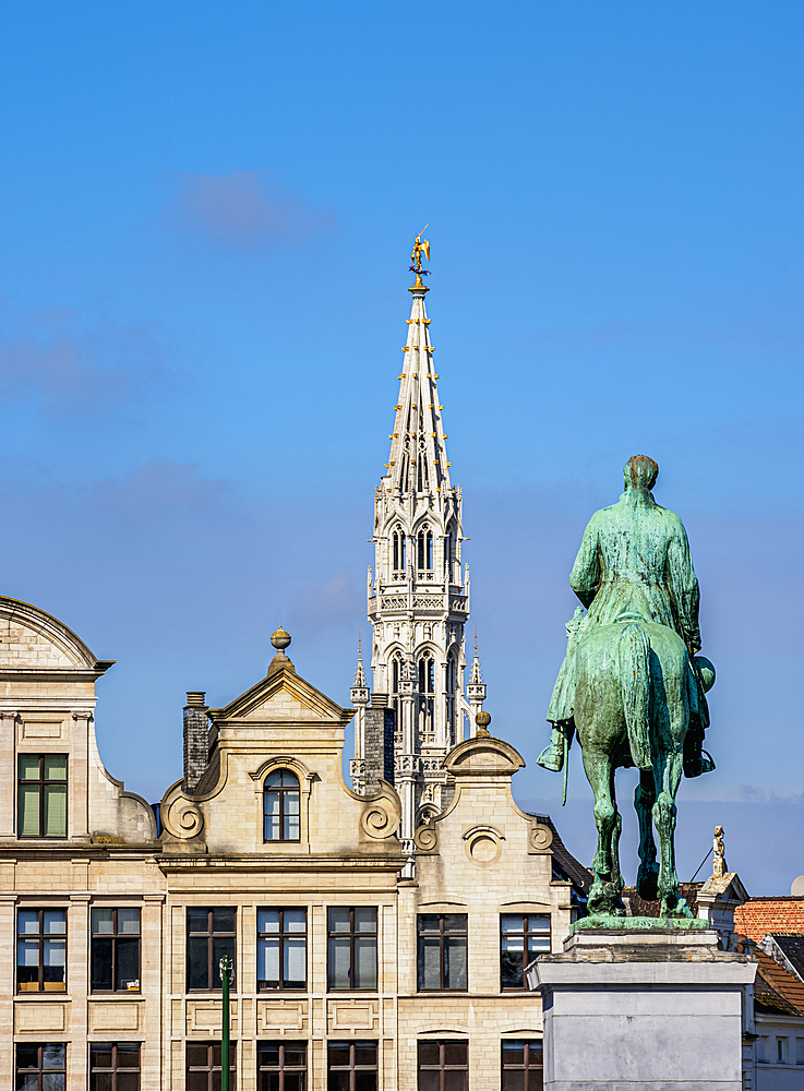 Statue of King Albert I and Town Hall Spire, Mont des Arts, Brussels, Belgium, Europe