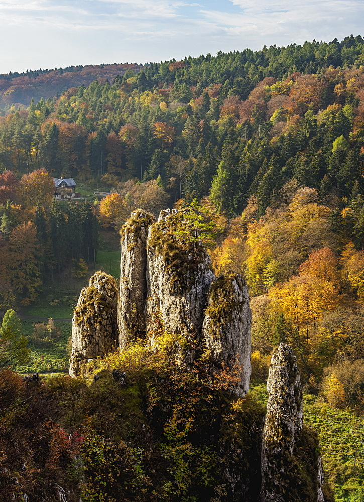 The Glove Rock Formation, Ojcow National Park, Krakow-Czestochowa Upland (Polish Jura), Lesser Poland Voivodeship, Poland, Europe