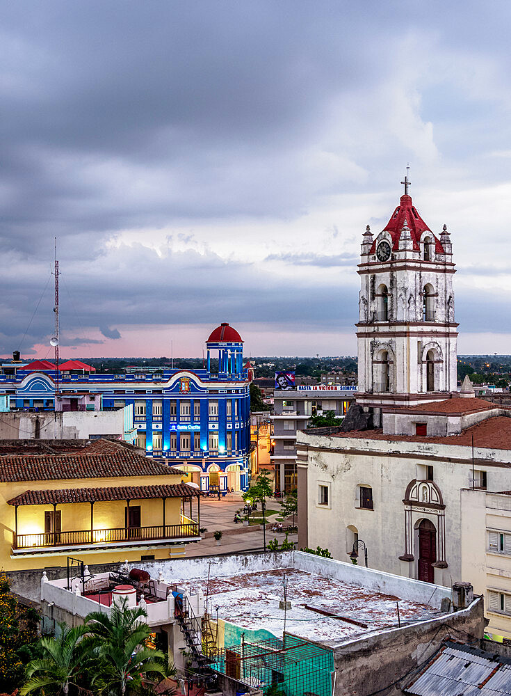 View towards Nuestra Senora De La Merced Church and Plaza de los Trabajadores, Camaguey, Camaguey Province, Cuba