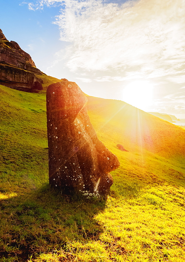 Moai at the quarry on the slope of the Rano Raraku Volcano at sunrise, Rapa Nui National Park, UNESCO World Heritage Site, Easter Island, Chile, South America